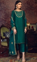 'Amaani'' is enriched with high quality pure raw silk. It is a straight mid-length emerald green shirt with round neckline and full sleeves. Neckline and sleeves are intricately adorned with kora, dabka, zaari ,aari and regal stones. It is paired with our signature gold screen printed pure silk dupatta with loops finishing.