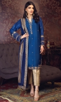 'Eshal' is a royal blue, intricately hand crafted shirt in pure raw silk fabric. Neckline, sleeves and daaman are accentuated with heavy handwork of kora, dabka, aari, zaari and stones for a shimmering look. It is paired with a pure silk screen print dupatta styled with leaves dangles at the edge of duppata.