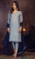 'HOOR'' an impressive outfit with the tinches of silver embellishment on neckline and adorned with silver sequins on shirt to give a sparkling look. Contrasting color of blue and silver screen print is given for the finishing on neckline, sleeves and damaan. It is paired with a navy blue pure silk dupatta adorned with silver sequins adding color to the subtle attire.