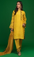 'Pinar' is a perfect spring wear. A yellow raw silk shirt with our signature screen print on the neckline and sleeves. Adorned with buttons on the neckline with kora, dabka and resham on the sleeves and front. It is paired with a yellow khaddi net dupatta with screen print finishing and hand crafted embellishments.