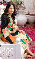 A-Line kameez in self embroidered cotton chikan with box panels in saffron orange bordered with charma dori. Side panels in black chikankari with silver embroidered chatta. Detailed neckline in patchwork of different textures and embroidery composed in hues of turquoise and coral. Intricate daaman border with embossed hand stitched fish scallops along with dabba chatta patti and printed silk panels bordered with floral embroidery on both ends. Textured rose gold lappa and silk border on sleeves cuffs. Paired with orange cigarette pants. ( 2PC STITCHED)
