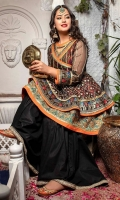 Majestic black embroidered double layered top with gold sequins embroidery along with tilla thread criss cross, angrakha styled detailed neckline with solid orange edging and gota kinari lined with printed material. Daaman border finished with turquoise scallop embroidery and banarsi textured lace. Paired with cotton gharara in black. (2PC stitched outfit)