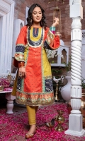 Color blocked chikankari kurta in saffron orange and lime green with deep blue ascents in jamawar jacquard. Mirror worked front, Textured finishings and digitally printed pure silk cuffs and daaman.