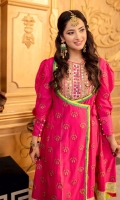 A modern take on classic angrakha in a gorgeous fuchsia pink color, embroidered and draped in a angrakha cutline with puffed sleeves, mirror worked neckline in a striking lime green to match the edging. Detailed daaman flare with mirror worked embroidery and solid colored edging. Paired with white gold dust printed bottoms and dupatta.