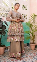 Cloudy grey organza kameez with digital 3d print pleated flare in a floral theme lined with a double flare in high hem finished with wide print. Handmade floral buttons along neckline, organza sleeves with printed elements and a drawstring cuff. Paired with dhaka trousers.  2 Pieces Stitched Outfit