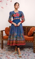 Rich blue lawn maxi with tradition print in blossom theme, 3D embroidered rose motif on neckline and puff together sleeves.