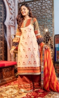 Cosmic latte colored kameez embroidered red lotus motifs, rust printed bodice and gather sleeves in various prints and one motif. Textured lace on bodice, sleeves and daaman lace. Printed flared trousers and chiffon dupatta bordered in various laces.  3 Pieces Stitched outfit