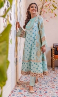 Mint lawn paneled pishwas with embroidered and embellished neckline on organza base, dual colored gold dust print side panels and sleeves finished with gold tilla embroidery studded with sparkling mirrors and hand stitched frill.  Paired with matching trousers.