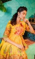 Bright yellow printed lawn maxi in a fusion cutline, ruffled neckline set with a fun pink peacock embroidered motif and bow tie.  Shirt only