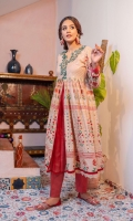 Coffee beige lawn chunat flare top with emerlad green 3D embellished motifs in gold on neckline adorned with charma dori on sides. Traditional block print inspired print in red and green metallic hues with mirror studs all along, mid slit with solid red cotton. Daaman finished with textured cotton scallops. Dupatta & cotton trousers  3pcs stitched outfit