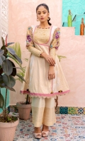 Ivory jacquard angrakha cut tunic with cross stitch embroidered puff sleeves in hues of lavander with gold embossed embroidered cuffs finished with colored organza loops as on the neckline. Daaman border in lilac along with textured scallops.  Paired with jacquard trousers.