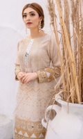 Ivory jacquard kameez with a blend of embroideries in gold and silver adorned with complementing charma dori, mirror embellishment over embroidered neckline, sleeves and daaman border. Paired with jacquard trousers and organza check dupatta.  3p STITCHED outfit