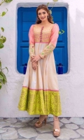 Jacquard panelled maxi with bodice in coffee gold base embroidered in pastel hues of pistachio green and pinks adorned with 3D rose buttons. Pink organza sleeves finished with embroidered cuffs, neon green gold dust printed daaman flare border.  3 pieces stitched outfit