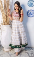 Ivory white lawn gold dust printed flared long anarkali with embroidered neckline in pink adorned with hand embellishment and bright ascents. Daaman flare with green indian rawsilk border along with gold tissue triangular edging.  Sleeves are attached with the shirt  3 pieces outfit