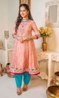 Peach jacquard paneled outfit with embroidered neckline all embellished with beads, zari, and pearls along with threadwork. Charma on sleeves and along with panels, box panels in foil printed organza finished with hand-stitched triangular edging in ferozi and paired with ferozi shalwar.
