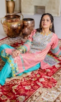 Peach jacquard kameez with turquoise embellished neckline with sheesha , gota, and sequins embellishment. Triangular and geometric printed scallops on daaman and sleeves. Paired with organza dupatta with edging.