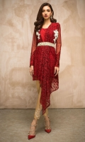 Adorn our scintillating red toned Victorian styled outfit, with a contemporary silhouette of richly embroidered net embellished with silver kora dabka and kundan. It is beautifully coordinated with beige pants.