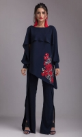 Go trendy in our navy blue floral inspired georgette ensemble this season. It is accentuated with uber chic pants.