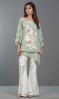 Stunning mint chiffon shirt paired with vintage floral embroidery with 3D flowers in ivory and pink with Swarovski embellishments must have summer ensemble.