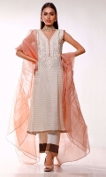 In a classic kurta silhouette. The self embossed ivory shirt is highlighted with intricate embroidered neckline decorated with touch of mirror work that instantly enhances the beauty of this outfit. It comes with ivory ijaar pants detailed with printed border and lace at the bottom. The voguish ruffled dupatta in pink organza makes the outfit more elegant.
