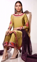 In perfect shade of olive green. This long shirt is accentuated with intricate embroidered neckline and colorful floral daaman featuring all over the chaaks. Sleeves are furthermore enhanced with embroidered floral bunch and colorful gotta details. It comes with chatapati and gotta detailed ijaar pants and plum colored organza dupatta.