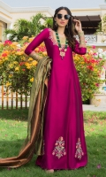 Make a dazzling impression in our appealing magenta gown highlighted with intricate embroidered neckline and vintage floral bunches all over the daaman. It is paired with plain magenta pants and a beautiful striped two-toned organza dupatta which completes the look with pure elegance.