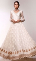 In a traditional flared silhouette, FITOOR is allured with beautifully embroidered geometric patterned border finished with scalps and loaded with embroidered motifs all over the front and back. it comes with plain ivory pants and organza chatapati dupatta finished with gotta all over the edges.
