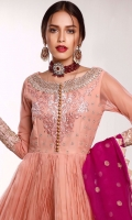 Steal the event with our voguish and front open anarkali emphasized with new fashioned crushed flare all over the front and back finished with intricate embroidered border, sleeves and neckline. It is accompanied with straight pants highlighted with intricate embroidered border and polka doted lustrous magenta dupatta with golden triangles all over the edges.