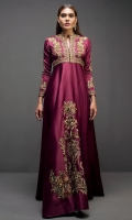 Opulently embroidered with gold tilla, this flattering victorian silk gown makes a regal style statement.