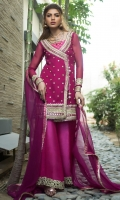 Perfected with gota embellishment in gold, the magenta chiffon angarkha is turned into a chic fancy. It comes with hot pink flared pants with cutwork gota border. It is coordinated with fuschia chiffon dupatta.