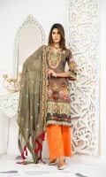 3 piece digital print and handwork embroidered lawn suit with digital print chiffon fabric for dupatta , dyed cotton fabric for trouser / shalwar.