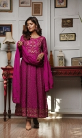 Heavy machine embriodered maxi style suit with pants & chiffon embriodery dupatta