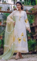 A pristine white chickan kurta carefully detailed with lace details all over and floral print inserts. The neckline is enhanced with sheer organza, embrodiered buttons embellished with pearl clusters. It comes with a pure organza chevron chaadar with lace trimmings. Length of shirt 52 inches