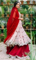 A beautiful cotton net paishwaas with a heavily embroidered and hand embellished choli consisting of gota and mirror work. It comes with crushed lengha with mirror work finishing. Organza dupatta embellished with sequins.