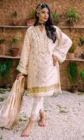 Jacquard cotton net kurta adorned with tila, gota and mirror work all over. It comes with an exclusive hand woven jacquard dupatta with gold trimmings.