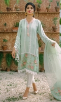 A beautiful pistachio green, self cotton net kurta with digital print inserts on the hem. The kurta is enhanced with lace trimmings all over. The neckline is ornamented with hand embellished organza flowers and angled sleeves are also enhanced with lace trimmings and digital print finishings. Length of shirt 40 inches