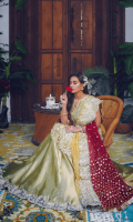 A worked colorful jamawar bustier with a fully worked net organza shirt. It is paired with a jamawar lehnga and an embellished dupatta, to be bought separately