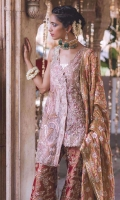 Beautifully worked pink tissue shirt with peacock motif on the front. Paired with worked jamawar pants and a contrasting dupatta