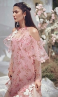 Digitally printed organza shirt in serene shades of pink, with cold shoulder sleeves. Hand embellished and embroidered motifs on the shoulder and shirt hem