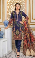 Lawn Print Front  Printed Back & Sleeves  Embroidered Chiffon Dupatta  Dyed Trouser