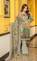 Digital Print Shirt = 3.20 Mtr Digital Print Embroidered Chiffon Dupatta With Cut work = 2.50 Mtr Dyed Trouser = 2.50 Mtr One Embroidered Neck Gala ( Organza )
