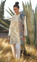 Silk digital printed dupatta Printed front, back and sleeves Embroidered neck and sleeve patch  Embroidered sleeve, front and back patti Dyed schiffli trouser