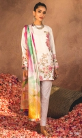 Silk digital Printed dupatta Fully embroidered front Printed back and sleeves Printed trouser