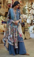 Chiffon digital printed dupatta Printed front, back and sleeves Embroidered neck patti Embroidered border patti, front and sleeves Dyed trouser with embroidery patch