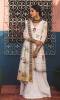 Jacquard printed dupatta Jacquard printed front and back Jacquard sleeves Embroidered neck patti, front and back Embroidered sleeve patch Printed trouser