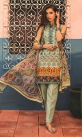 Chiffon digital printed dupatta Printed front, back and sleeves Embroidered patti, front and sleeves Dyed trouser
