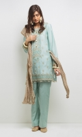 Gold tilla embroidered Aqua kurta with gold tilla tassle detail on neckline and Kiran finishing. Paired with straight pants with Kiran finishing and a crushed tissue dupatta. 3 -Piece Suit