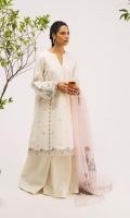Embroidered shirt front and back 2 yard Embroidered sleeves 0.6 yard Embroidered patti 2.4yard Embroidered ghera patti 1.6 yard Embroidered organza dupatta 2.65yard Cambric pants.2 mtr