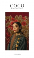 Embroidered front with neckline and booti on dyed khaddar (1.32 yd) Embroidered back on dyed khaddar (1.32 yd) Side panels with embroidered sleeves on dyed khaddar (1.32 yd) Printed linen dupatta (2.65 yd) Sleeve border patch (1yd) Trouser border patch (1 yd) Plain khaddar trouser (2.5 mtr)
