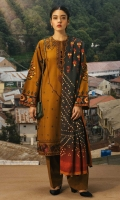 Embroidered front on printed cambric (1.32 yd) Printed cambric back (1.32 yd) Printed cambric sleeves (0.65 yd) Printed linen dupatta (2.65 yd) Plain cambric trouser (2.5 mtr)